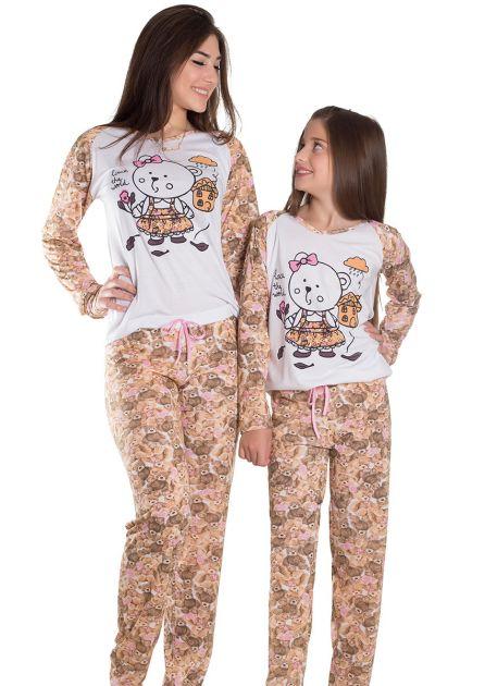 Pijama Infantil Feminino Longo com Manga e Calça Estampa Única Cachorrinho