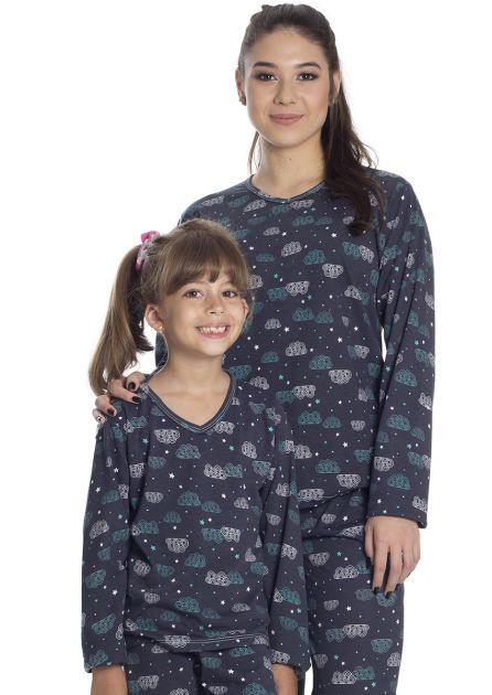 Pijama Infantil Feminino Longo Mãe e Filha Malha Estampa Nuvens