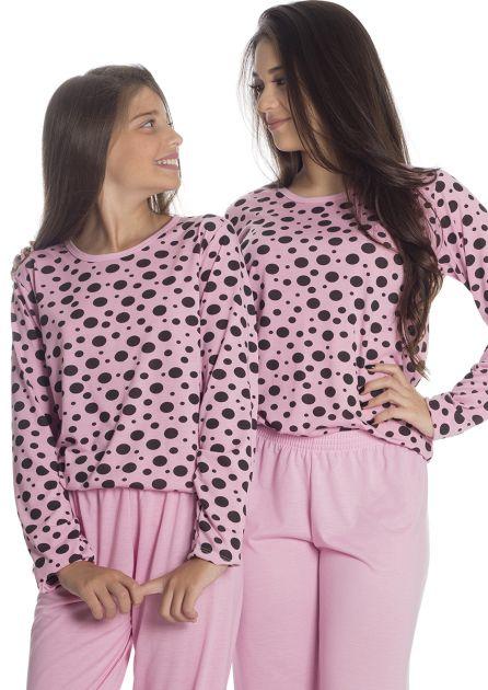 Pijama Infantil Feminino Mãe e Filha Malha Estampada Poá