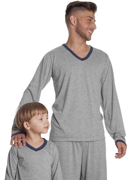Pijama Infantil Masculino Malha Mescla Liso