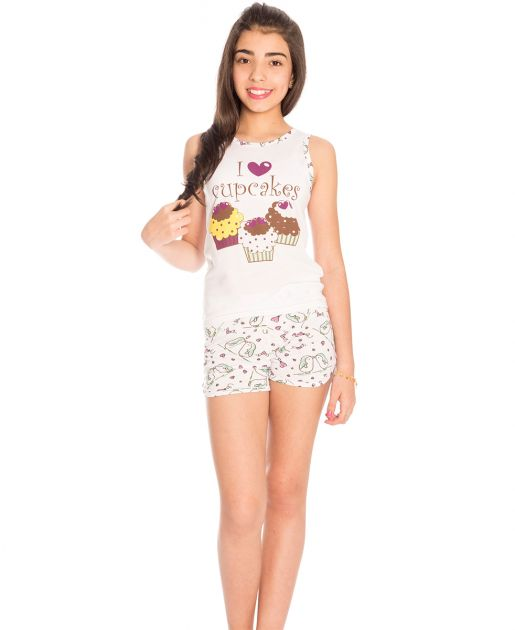 Pijama Infantil Menina Cupcakes