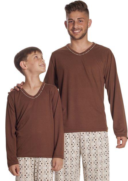 Pijama Masculino Plus Size Longo Calça Estampada Blusa Lisa
