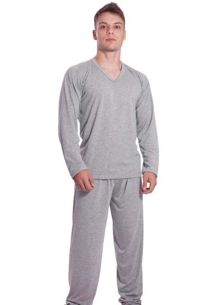 Pijama Masculino Plus Size Longo Malha Mescla Liso