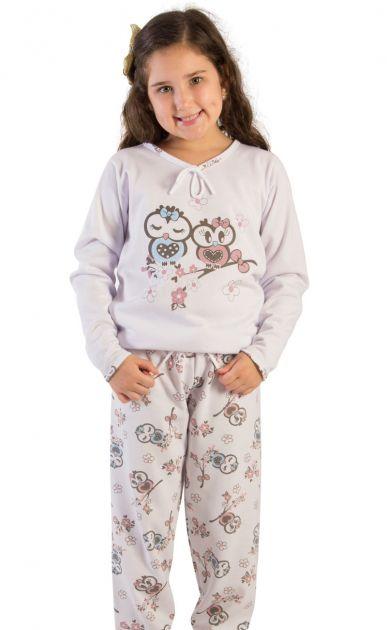 Pijama Menina Flanelado Corujinhas