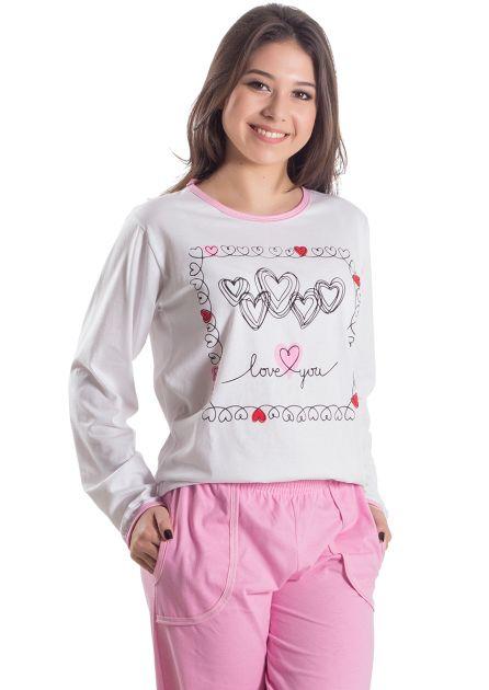 Pijama Plus Size Feminino Algodão Longo Love You