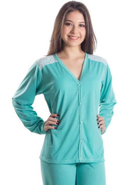 Pijama Plus Size Feminino Longo Aberto Amora Doce
