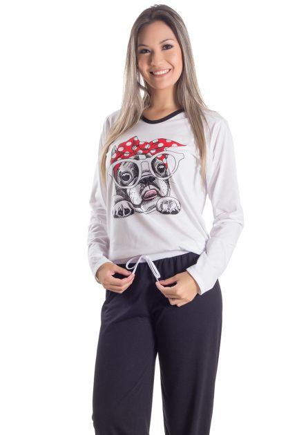 Pijama Plus Size Feminino Longo Cachorrinho