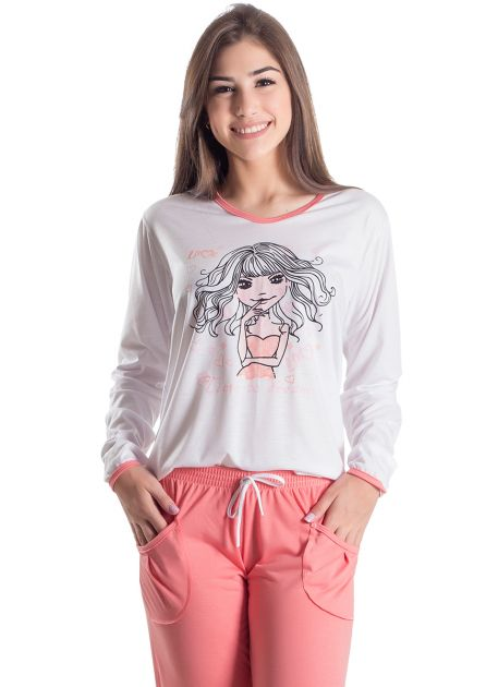 Pijama Plus Size Feminino Longo Dreams