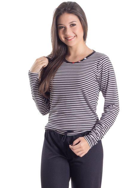 Pijama Plus Size Feminino Longo Listrado