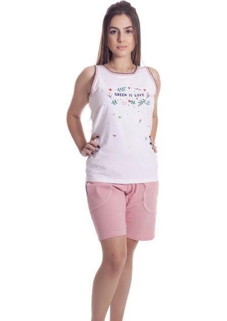 Short Doll Feminino Algodão Liso Estampa Gatinha Gigica