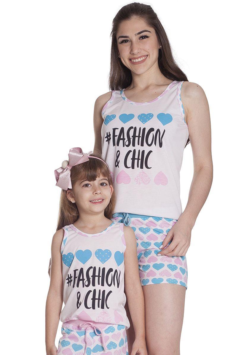 c57157c771c2ca Short Doll Feminino Infantil Mãe e Filha Malha Estampa Corações Fashion and  Chic