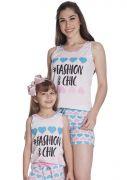 Short Doll Feminino Infantil Mãe e Filha Malha Estampa Corações Fashion and Chic