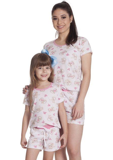 Short Doll Feminino Mãe e Filha Malha Estampada Cachorrinho
