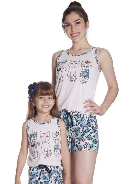 Short Doll Feminino Malha Estampada Oncinha Máe e Filha com Regata 3 Gatinhos