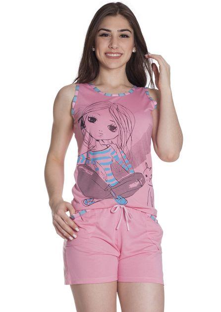 Short Doll Feminino Malha Poliviscose Blusa Regata e Bermuda com Bolso Love Girl