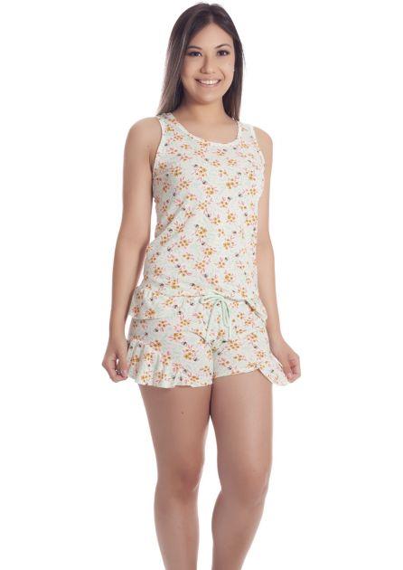 Short Doll Feminino Malha Poliviscose com blusa Regata e Babados Oncinha