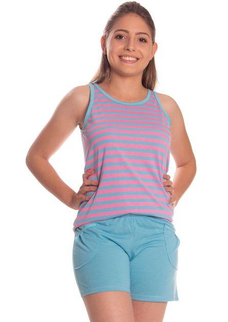 Short Doll Feminino Malha Poliviscose com Blusa Regata e Bermudinha em Candy Listras
