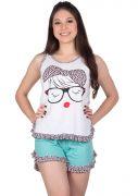 Short Doll Feminino Plus Size Cavado Algodão Estampado Lilica