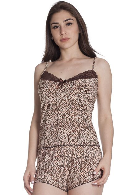 Short Doll Feminino Plus Size Liganete Estampada com renda Tigresa Marrom