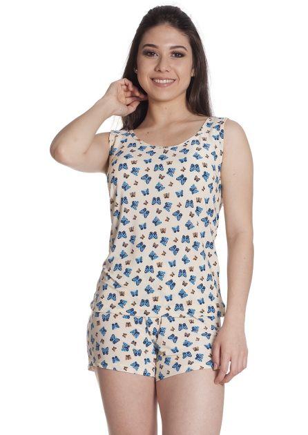 Short Doll Feminino Plus Size Liganete Estampado Blusa Regata Borboletas