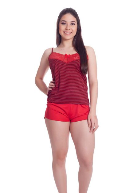 Short Doll Feminino Plus Size Liganete Poliéster com Elastano Regatinha Listrada e short Liso
