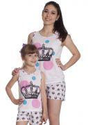 Short Doll Feminino Plus Size Mãe e Filha Malha Estampa Coroa Princesa