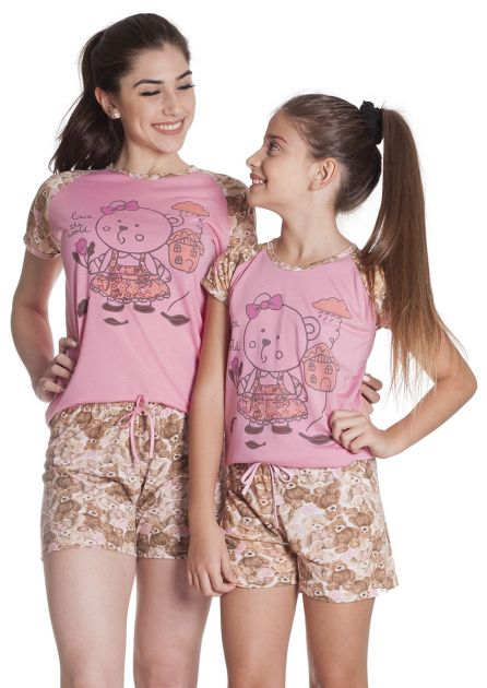Short Doll Feminino Plus Size Mãe e Filha Malha Estampada Ursinho