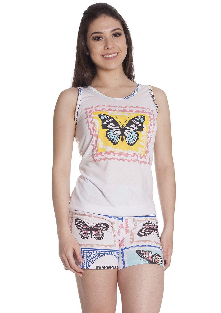 5814bb95e Short Doll Feminino Plus Size Malha Estampada Poliviscose com Blusa Alça  Fina Borboletas