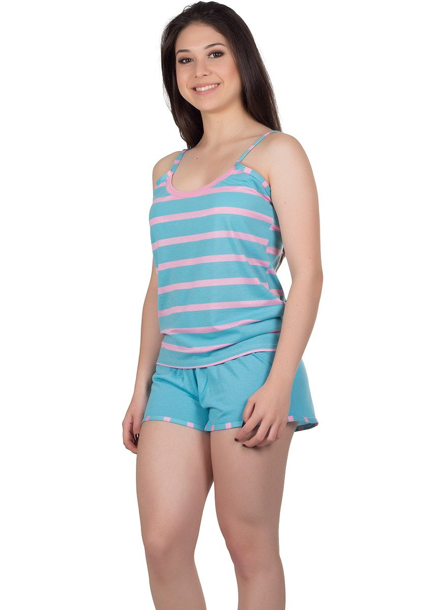 ee7ad7b50 Short Doll Feminino Plus Size Malha Listrada Maitê na Amora Doce