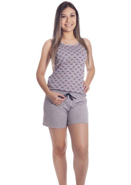 Short Doll Feminino Plus Size Malha Poliviscose com Blusa Regata e Bermuda Love Photos