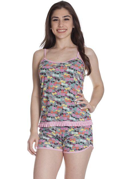 Short Doll Feminino Plus Size Malha Poliviscose Estampada com Babados Colorido