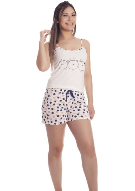 Short Doll Feminino Plus Size Malha Poliviscose Única Gatinhos